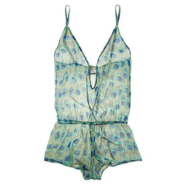Beautiful Bottoms Peacock Drop Back Playsuit