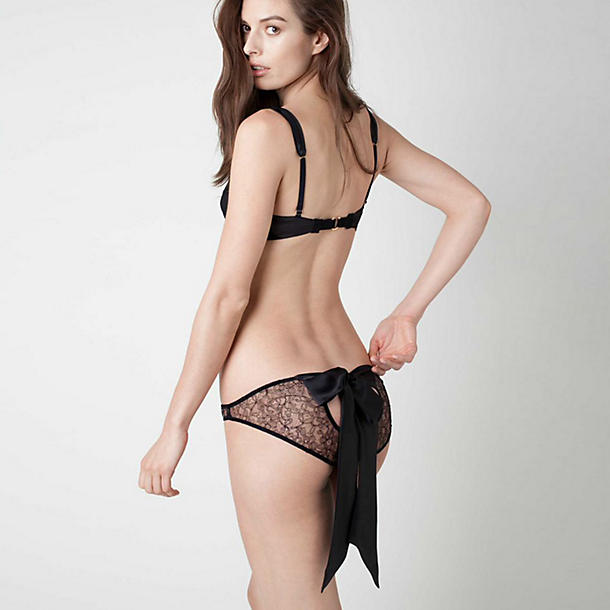 Damaris Panther Black Lace Back Bow Knicker
