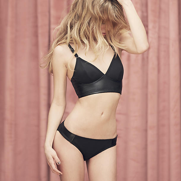 Fortnight Leatherette Long Line Bra