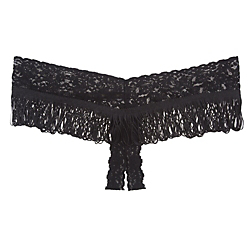Hanky Panky Signature Lace Fringe Open Panel Thong