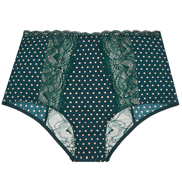Blush Spotlight Retro Brief,  Size Extra Small - Forest Green Dot This tailored retro-brief, with its stunning high waisted shape, gorgeous cream and forest palette, and smooth wearing microfiber and lace panels must be some sort of magic.