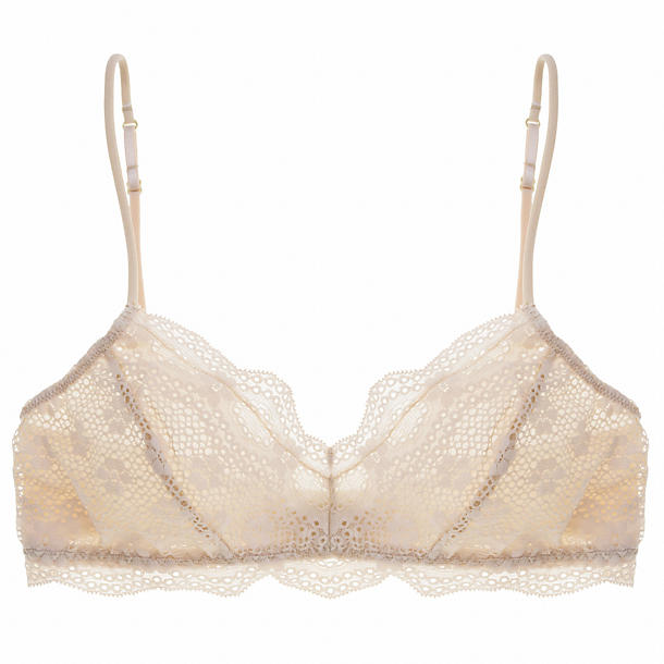 Eberjey India Retro Bralet,  Size S/M - Bare Snowflake soft stretch lace with a smooth floral pattern makes this softbra comfortable, adorable, and easy like a Saturday morning.