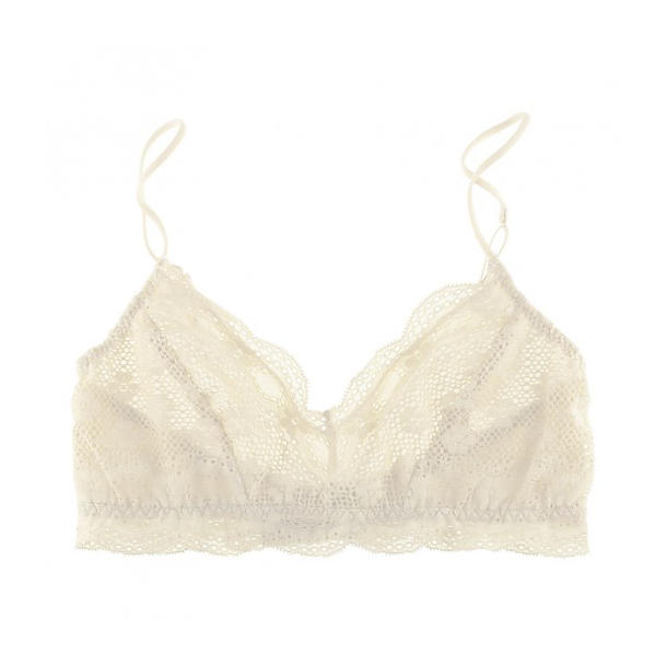 Eberjey India Retro Bralet,  Size M/L - Snow Snowflake soft stretch lace with a smooth floral pattern makes this softbra comfortable, adorable, and easy like a Saturday morning.