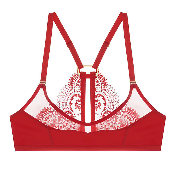 Lyn Lingerie Lue Bandeau Soft Cup Bra,  Size Large - Red This utterly gorgeous tulle and modal soft bra, with luxurious Swiss embroidery, killer back details, and brilliant red palette is a glorious nod to peek-a-boo perfection. Go on, show it off. We dare you.